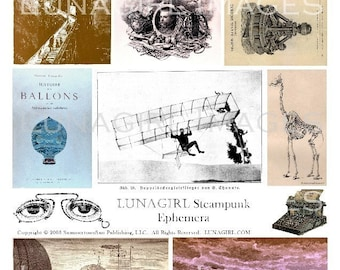 STEAMPUNK EPHEMERA digital collage sheet, Victorian images, Odd Weird Science pictures, hot air balloons old airplanes, altered art DOWNLOAD