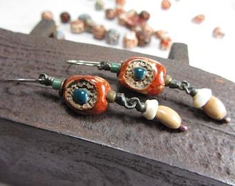 Long Earrings Dangle Boho,  Mysterious Bohemian Earrings, Magical Ancient  Handmade Earrings, Copper Jewelry Handmade Boho, Surgical Steel