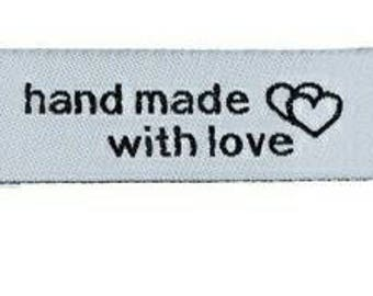 Sewing hande made with love. black and white