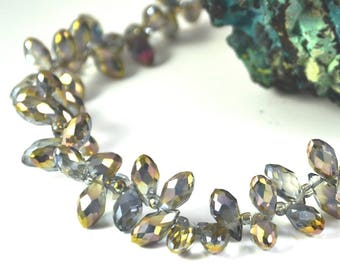 "faceted Crystal beads 10 ""drop horizontal"" 12 x 6 mm blue iridescent gold"
