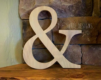 """16"""" Unpainted Wooden Ampersand Photography, Sign, Photo Prop, Engagement Photos, Wedding Photos"""