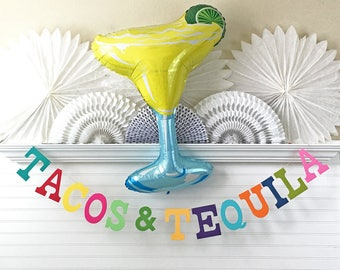 Fiesta Banner & Balloon - 5 inch Letters - Tacos and Tequila Banner Fiesta Decorations Colorful Fiesta Birthday Party Margarita Party Banner