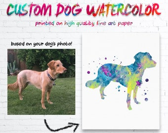 Custom Dog Watercolor Print, Custom Dog Silhouette Art Print, Custom Dog Print, Custom Pet Art, Dog Lover Gift, Pet Lover Gift, Dog Art Gift