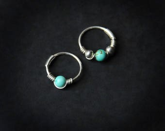 Sterling Silver Hoop / Turquoise Helix / Cartilage Hoop / Dainty Hoops Small / Thin Helix Hoop / Nose Ring / Cartilage Earring /