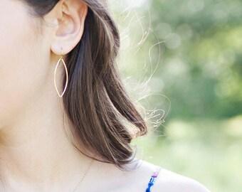 Gold Dangle Earrings | Marquise Earrings | Simple Everyday Earrings