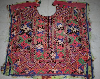 Indian Vintage Neck Yoke Embroidery OF Beads Work And Mirror work Handmade Applique Patch Sewing craft, cotton fabric neck yoke 108