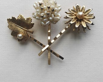 Vintage Jewelry Floral Hair Pins