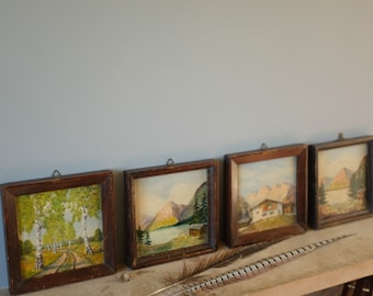 Original Oil Paintings x 4 vintage