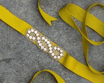 Light Green Grosgrain Skinny Ribbon Belt Rhinestone Applique Lime Art Deco Handmade 266