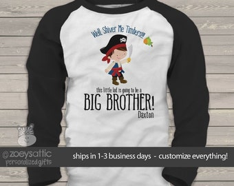 big brother shirts   big brother to be   pirate shiver me timbers   big brother raglan shirt MPRT-004-r