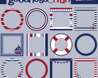 Buy 2, Get 1 FREE - Nautical Frames Clipart - Digital Nautical Frame Clipart - Instant Download