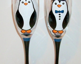 Penguins Wedding Glasses Hand Painted Champagne Flutes Top Hat & Veil Cute Penguins Toasting Flutes 2 - 6 oz. Toasting Flutes Wedding Gift