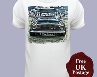 Mini Cooper, White T Shirt, Classic Mini Cooper T Shirt, Choose Your Size