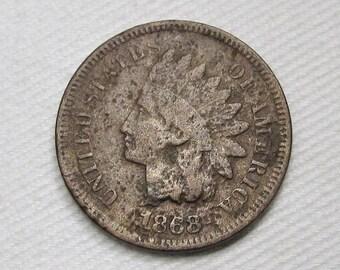 1868 Indian Cent FINE Details Coin