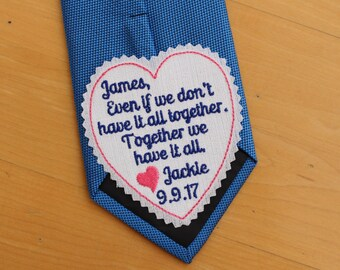 "GROOM Tie Patch, together we have it all, tie label - 3"" wide, Beautiful Tie Patches. Groom Gift from Bride, heart patch, personalized S8"