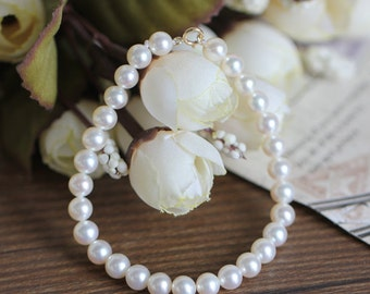White freshwater pearl bracelet 4.0 to 5.0 mm, AA+, round,7 inches