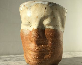 Face Cup Sculpture Head Vessel, Figure Art Bust of a Woman Marbled Stoneware Pottery Glazed Rim