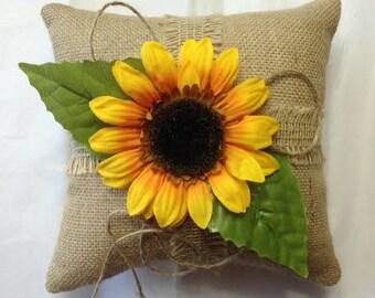 Sunflower Ring Bearer Pillow, Sunflower Wedding, Sunflower Ring Pillow,  Burlap Ring Pillow, PERSONALIZED Ring Bearer Pillow, Ring Pillow