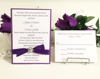Purple & White Invitation Set With Rhinestone For Weddings/Holidays/Birthdays