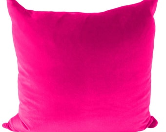 Pink Velvet Throw Pillow Cover for Sofa or Couch in 16x16, 18x18, 20x20, 22x22, 24x24, 26x26