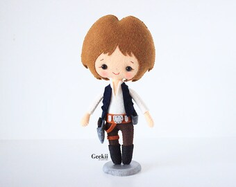 Han Solo inspired Plush Doll Plushie Toy, Star Wars collectibles, Geeky Gift, Geek Decor