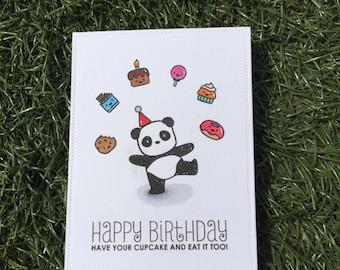 Panda birthday card panda card watercolor panda birthday celebrate your birthday panda birthday card handmade bookmarktalkfo Image collections