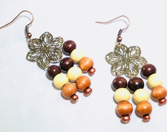 Wood and Flower dangle drop