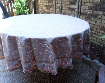 """Clearance-Vintage Cocoa Brown with Blue Butterflies/Butterfly-65"""" Round-Tablecloth"""