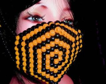 Orange Spiral Mask, Kandi Black Surgical Mask, Plur Edm Rave Accessories