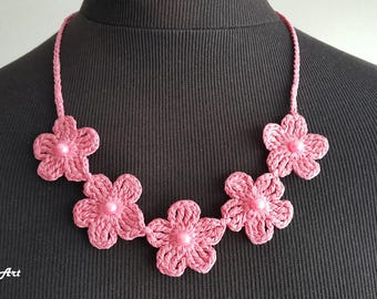 Crochet Necklace,Crochet Neck Accessory,Hot Pink, 100% Cotton.