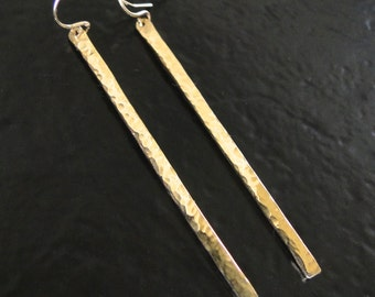 14K GOLD Bar Earrings As Seen On Elizabeth Banks -  Hand Forged, Hammered or Smooth, Shiny 14K Yellow, Rose, or White Gold Dangle Earrings