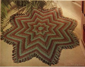 CROCHET RUG PATTERN Vintage 70s Crochet Floor Mat Pattern