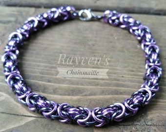 Gunmetal and Lavender Byzantine Chainmaille Chainmail Bracelet