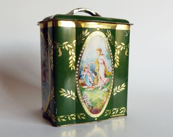 Shapely Vintage Lidded Tin With Woman & Cherub Scene Green Gold