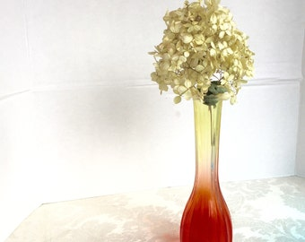 Vintage Glass Yellow and Orange Ombre Colored Fluted Bud Vase