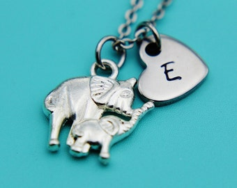 Silver Mother and Baby Elephant Charm Necklace, Elephant Pendant, Heart Charm Necklace, Silver Elephant Necklace, Gifts for Her under 30