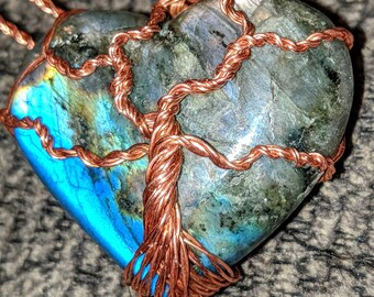 Labradorite Heart w Copper Tree of Life
