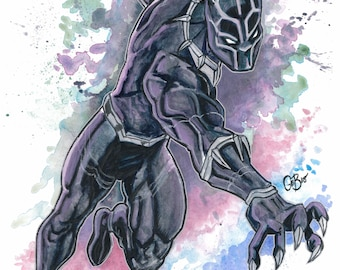 "Black Panther 11x15"" original watercolor painting."