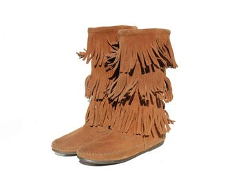 Vintage Women's Fringe Brown Suede Boots / size 8