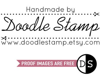 """CUSTOM HANDMADE BY Text Stamp - personalized rubber stamp, rubber stamp, custom rubber stamp, custom branding stamp, 2.5""""x1"""" (hms3)"""