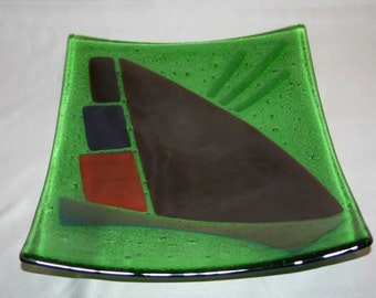 Square glass platter in an abstract pattern (PL-19)
