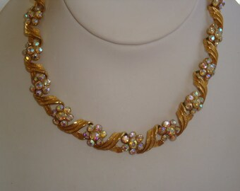 Vintage Aurora Borealis Rhinestone and Gold Chocker Necklace