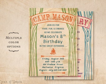 Printable Birthday Camp Invitation - 5x7 - Vintage Camping Campsite Bonfire Tree Nature Outdoors Rustic Summer Kids Childrens Boy Girl