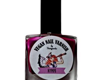 Purple Nail Varnish, neon, cruelty free, 5 free Nail Polish UV Indie Nail Polish, purple Nymph, free from toxins, long lasting, vegan