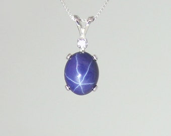 Natural black star sapphire ring sterling silver september 3 carat blue star sapphire necklace sterling silver cornflower blue star sapphire necklace silver aloadofball Choice Image