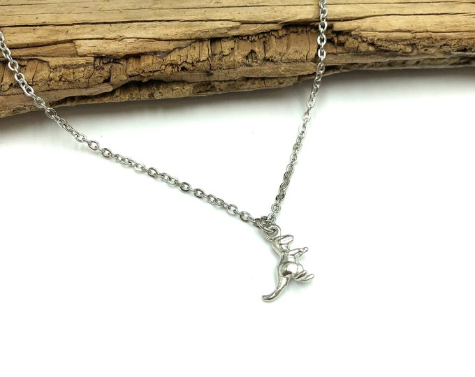 DAINTY DINO: tiny dinosaur stainless steel necklace
