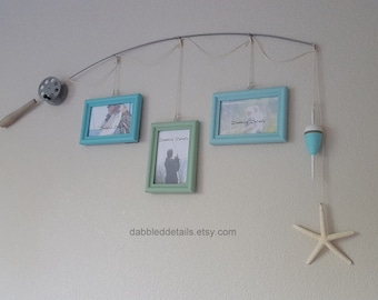 Fishing Pole Picture Frame - Silver Pole - 3 - 4 in x 6 in Picture Frames - Caribbean, Seaglass, Spa Blue