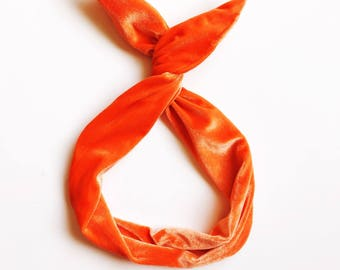 Orange Crushed Velvet Wire Headband