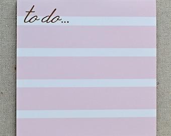 pink stripe notepad