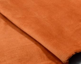 Velvet 1000 lines plain - rusty Brown squirrel 140 cm wide
